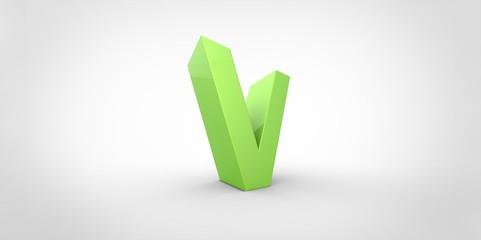 V 3D font big neon green letter on white gray background