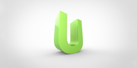 U 3D font big neon green letter on white gray background
