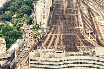 Aerial view of railway station, Paris, France