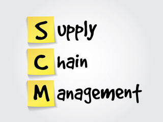 Supply Chain Management (SCM) on yellow sticky notes