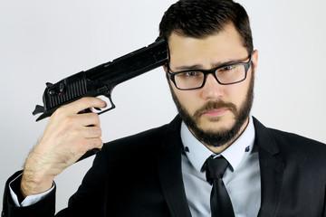 portrait of a businessman who attempts suicide