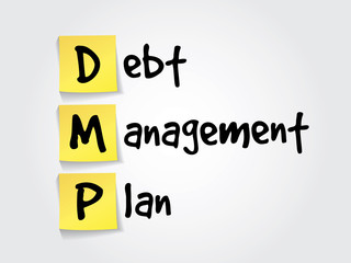 Debt Management Plan (DMP) on yellow sticky notes