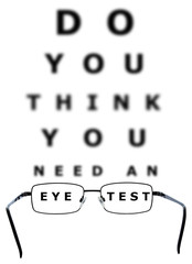 Eye Examination Chart and Glasses