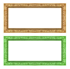 set gold and green frame isolated on white background , clipping