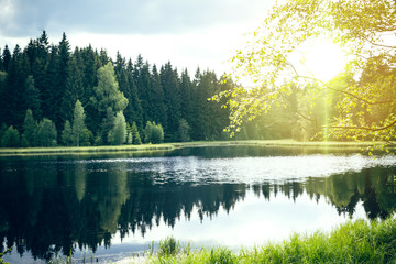 Lake with sunlight