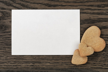 paper post card with heart cookies