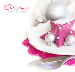 Fuschia Pink Christmas Table Setting