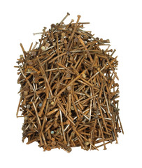Pile of old rusty nails of various sizes isolated on white backg
