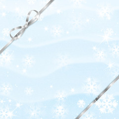 Christmas and New Year background with snowflakes and silver rib