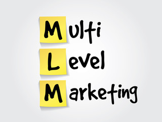 Multi level marketing (MLM) on yellow sticky notes