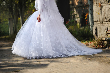 train of a wedding dress