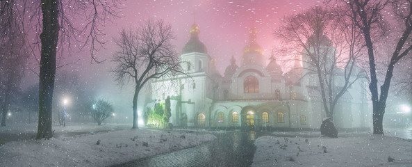 Blizzard and rain enveloped Kiev