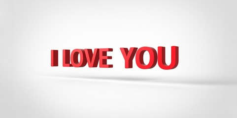 I Love You 3D red text on white gray background