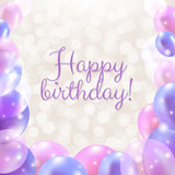 Fototapety Happy Birthday Card With Pastel Balloons