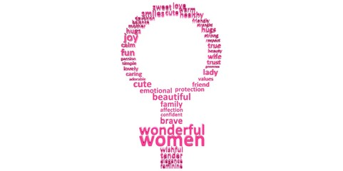 3D purple pink woman's symbol made of words Women's Mother's day