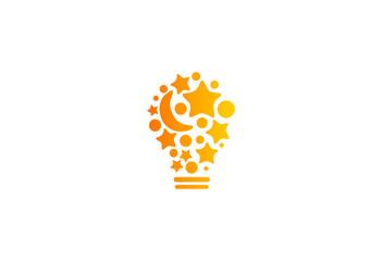 idea light bulb symbol star vector logo