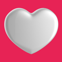 3D white Heart Shape on a purple pink red background