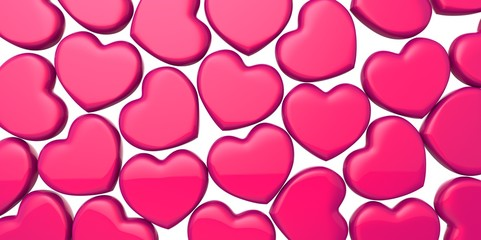 Many 3D purple pink Hearts Shapes on a white background