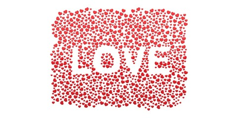 Many 3D red Hearts Shapes LOVE form on a white background