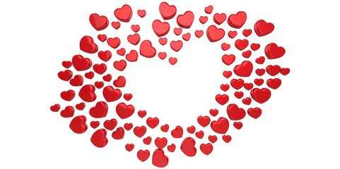 3D red Hearts Shapes form on a white gray background