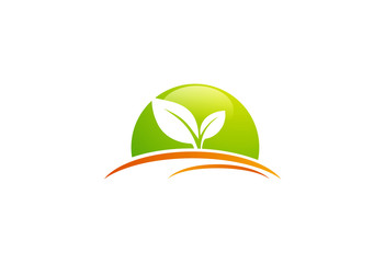 leaf bio abstract vector logo