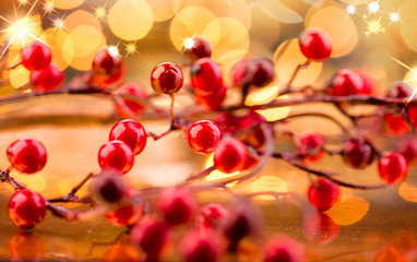Christmas berries. New Year decorations over golden background
