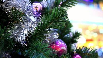 Christmas scene with tree and colordul balls, close-up. Shift