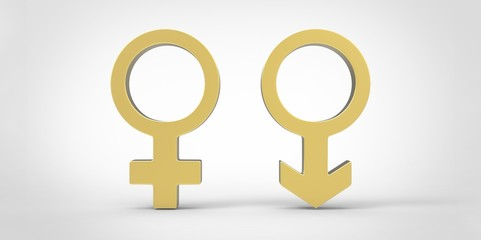 3D male and female sex symbols isolated over white background