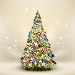 Christmas fir tree on elegant beige. EPS 10