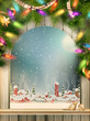 Christmas Theme - Window with a kind. EPS 10