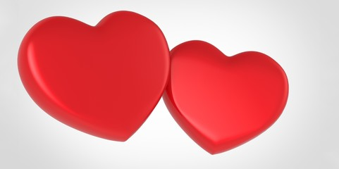 Two red 3D Hearts on white grey background