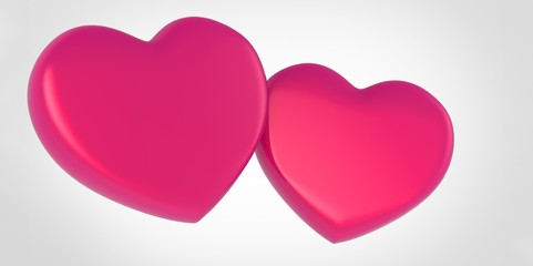Two pink 3D Hearts on white grey background