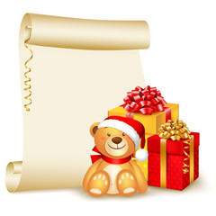 Christmas background, scroll with cute teddy bear and gifts