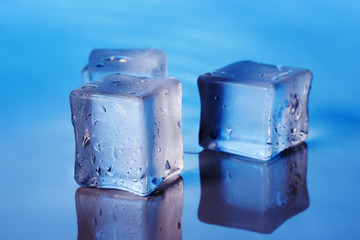 cubes of ice on the blue background
