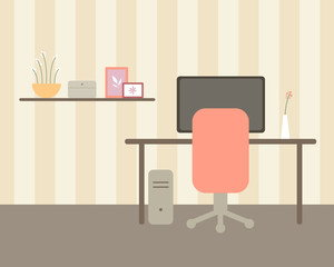 Vector Illustration of an Office Room