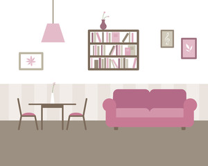 Vector Illustration of a Living and Dining Room
