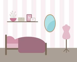 Vector Illustration of Bedroom Interior
