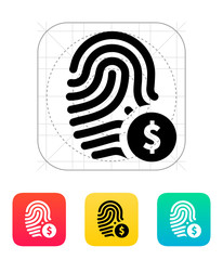 Fingerprint with USD currency symbol and money label icon.