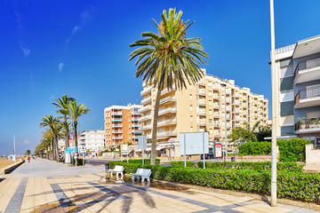 Seafront, beach,coast in Spain. Suburb of Barcelona