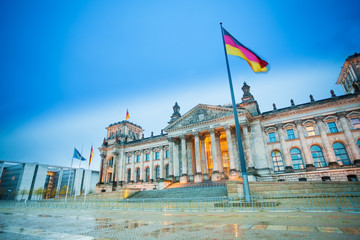Reichstag view with German flag after rain