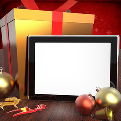 Digital tablet with Christmas decorations
