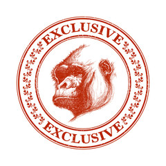Ape head logo in red and white.