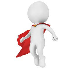 3d brave superhero with red cloak levitate above