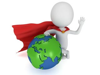 Brave superhero and world sphere