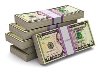Stacks of 5 dollars banknotes