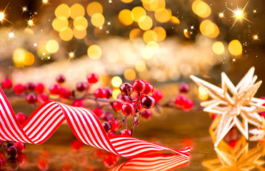 Christmas decorations over golden background