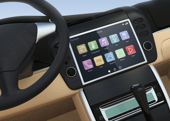 Car interior with touch screen multimedia system