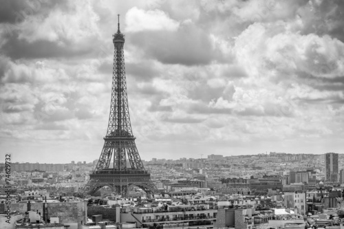 Aerial view of Tour Eiffel and Paris cityscape