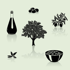 set of silhouettes: olive tree, branch, fruit