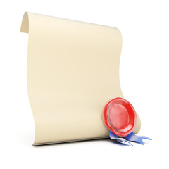 Blank paper roll with wax seal